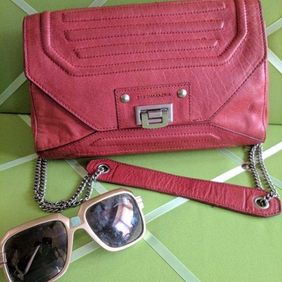 BCBG MAX AZRIA Red Matte-Leather Shoulder Bag